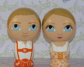 Custom Wedding Cake Toppers Hand Painted Tangerine Orange Lederhosen and Dirndl with Base