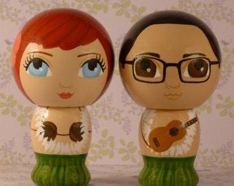Custom Hawaiian Wedding Cake Toppers Hand Painted on Wooden Kokeshi Dolls