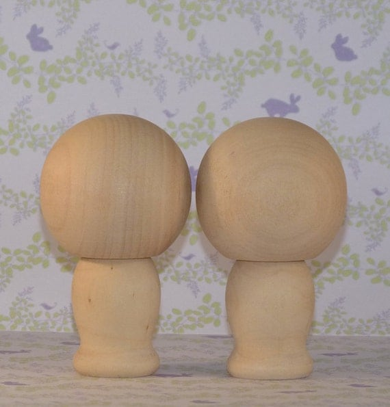 Do It Yourself Large Cake Topper Wooden Kokeshi Dolls