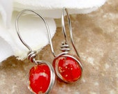 Glow in the Dark Dangle Earrings Red Sterling Silver Filled Wire Wrapped