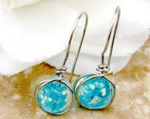 Turquoise Blue Glow in the Dark Earrings Sterling Silver Filled Wire Wrapped