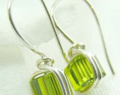 Olive  Green Swarovski Crystal Earrings Illusion Earrings