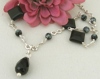Black Onyx, Snowflake Obsidian, Sterling Silver Necklace