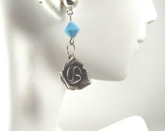 Silver Flower Earrings Turquoise Swarovski Crystal Southwestern Inspired Post Earrings