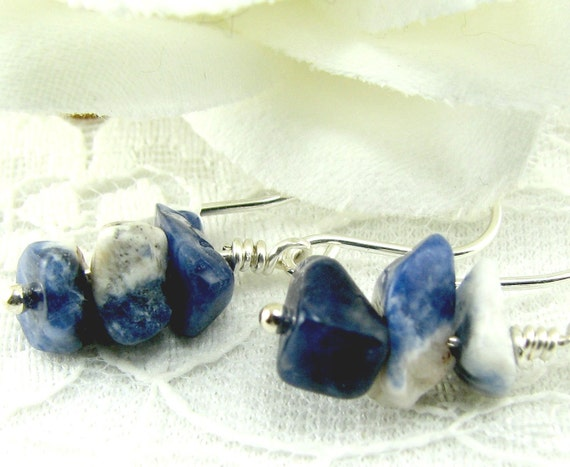 Blue White Stone Drop Earrings Sodalite Sterling Silver  Marked down 25% (E319) Ready to Ship