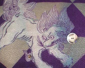 Blue Shishi Plays at Night Vintage Kimono Wall Art
