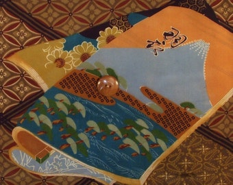 Summer Reading Book Two Vintage Kimono Fabric Wall Hanging