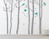 Wall Art Vinyl Decal Sticker Home Style - LEAFY Birch Tree 101 inches with birds