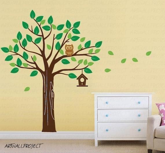 Wall Art Vinyl Decal Sticker Home Kids - Tree series - R Leaves Tree, Owl, Birdhouse