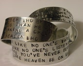 Double Sided Custom Order Handstamped Thick Cuff Bracelets