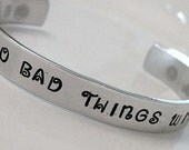 True Blood Stamped Bad Things Custom Fancy Silver Metal Thin Cuff Bracelet