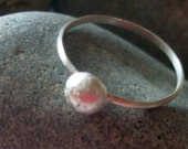 Sterling and fine silver pebble stacking ring in your size