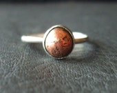 Rustic sterling silver and copper stacking ring in your size