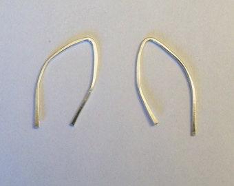 Simple small sterling silver wishbone earrings