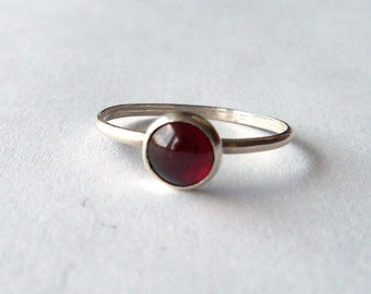 Red Garnet and sterling silver stacking ring - January Birthstone