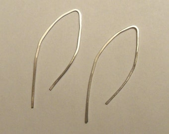 Large sterling silver wishbone earrings
