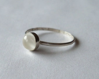 Moonstone and sterling silver stacking ring