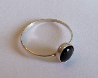 Sterling silver and black onyx stacking ring in your size