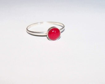 Red Coral and sterling silver stacking ring