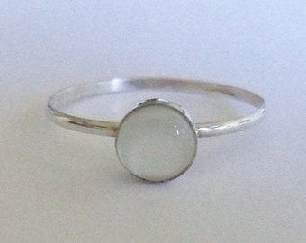 Mother of pearl and sterling silver stacking ring