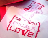 Greeting Card . translucent vellum with red metallic envelope . wedding . valentine . simple love
