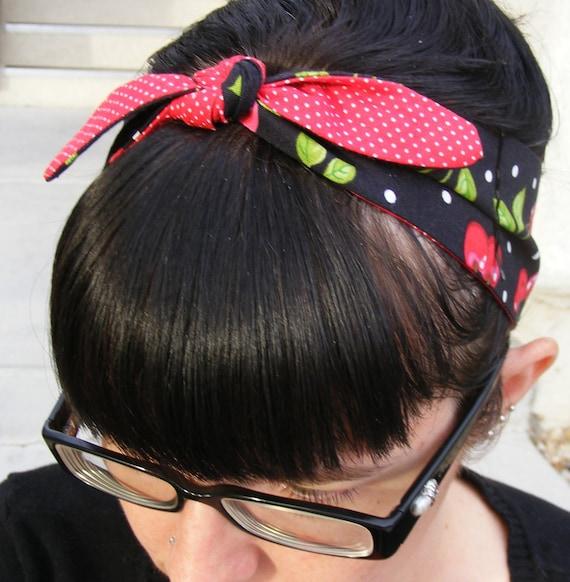 Retro Cherry and Polka Dot Hair Tie - Bandana - Rockabilly Hair Tie - Headband - Reversible
