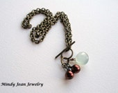 Gemstone Vintage Style Necklace, Chalcedony Necklace, Chalcedony and Brass Necklace, Vintage Brass, BRASS AND BERRIES