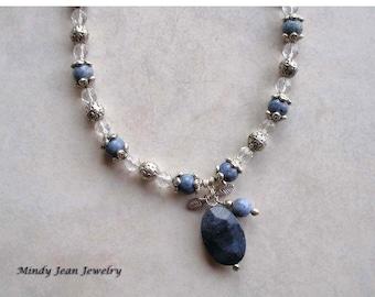 Gemstone Pendant Necklace, Blue Stone Necklace, BLUE DENIM
