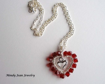 Red Crystal Heart Necklace, Wire Wrapped Heart Necklace, Heart Pendant Necklace, Wrapped Around My Heart