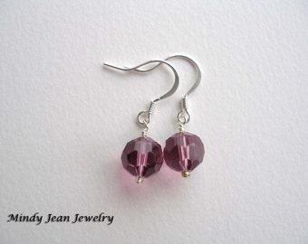 Crystal Bead Earrings, Purple Dangle Earrings, Purple Earrings
