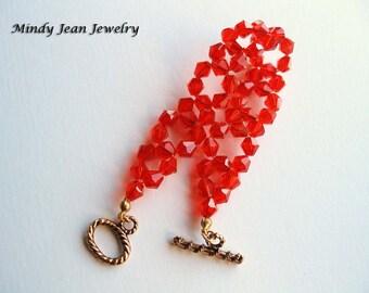 Woven Crystal Bracelet, Orange Bracelet, Summer Bracelet, Resort, TROPICAL TANGO