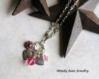 Charm Pendant Necklace, Charm Necklace, Pink Necklace, Words To Live By