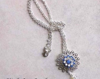 Crystal and Filigree Pendant Necklace, Filigree Necklace, Swarovski Crystal Necklace, MONTANA SKY