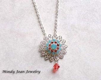 Crystal Filigree Pendant Necklace, Filigree Necklace, Orange, Aqua, PARADISE