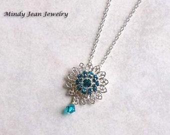Crystal and Filigree Pendant Necklace, Filigree Necklace, Swarovski Necklace, BLUE LAGOON