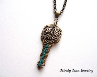 Wire Wrapped Key Necklace, Vintage Key Necklace, Altered Key Pendant, Embelished Key Necklace