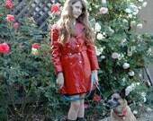 Groovy 60's RED Vinyl Trench Coat