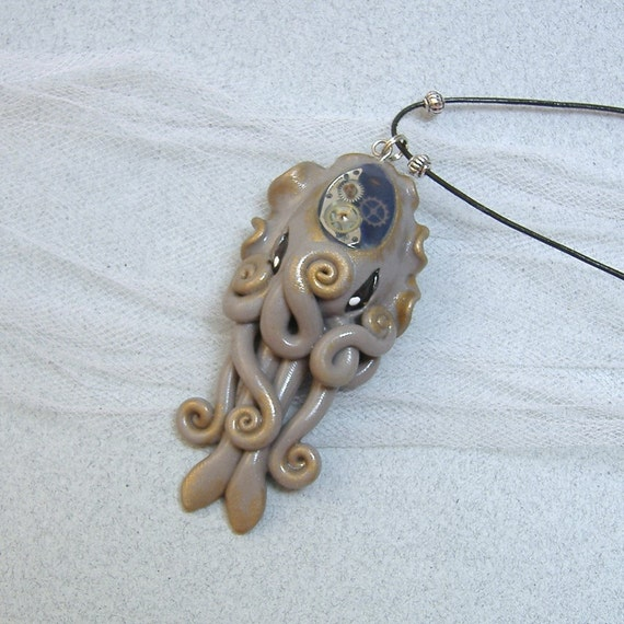 Steampunk Cuttlefish Necklace - Polymer Clay Jewelry