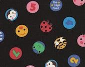 Lecien Minny Muu - Animal Numbers Polka Dot in Black - Japanese Fabric - 1\/2 Yard
