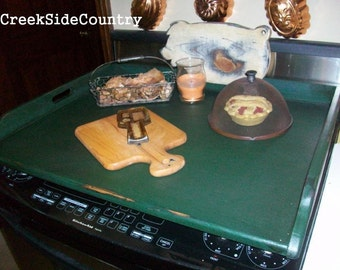 Primitive  or Rustic  Wood  Stove Top Cover Noodle Board, cutting board or tray
