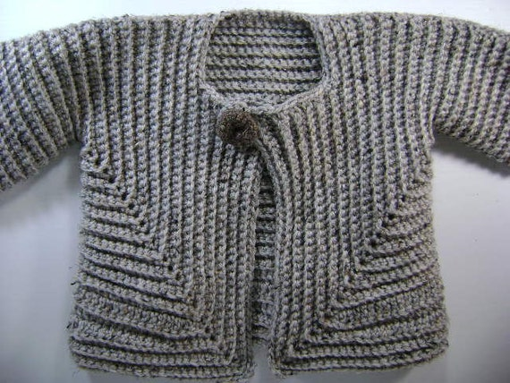 Crochet Baby Surprise Jacket - extra large in Grey Marble