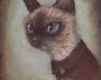 Cat Art Print - Theo, 8x10 pet portrait painting, cute animal art