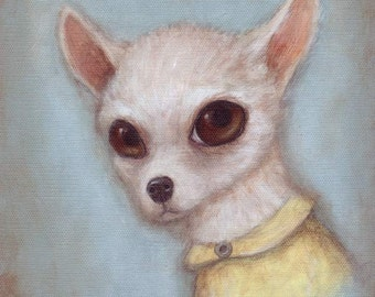 Dog Art - Elroy, 8x10 cute art print of Chihuahua dog, pet portrait painting