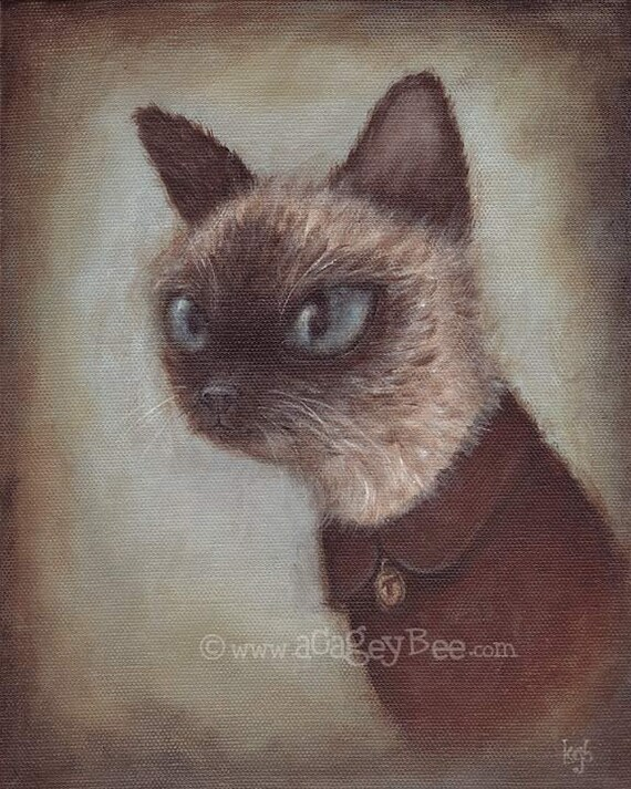 Cat Art Print - Theo, 8x10 pet portrait painting, cute animal art