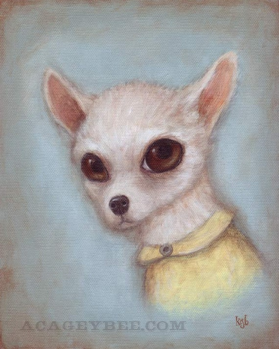 Dog Art - Elroy, 8x10 cute art print of Chihuahua dog, pet portrait painting