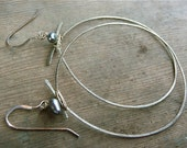 forged silver pearl hoop earrings