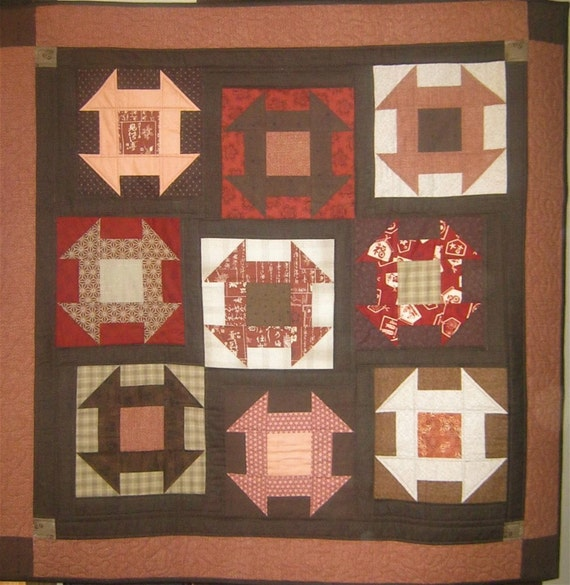 Patchwork Quilt - red and brown Japanese Churn Dash wall hanging