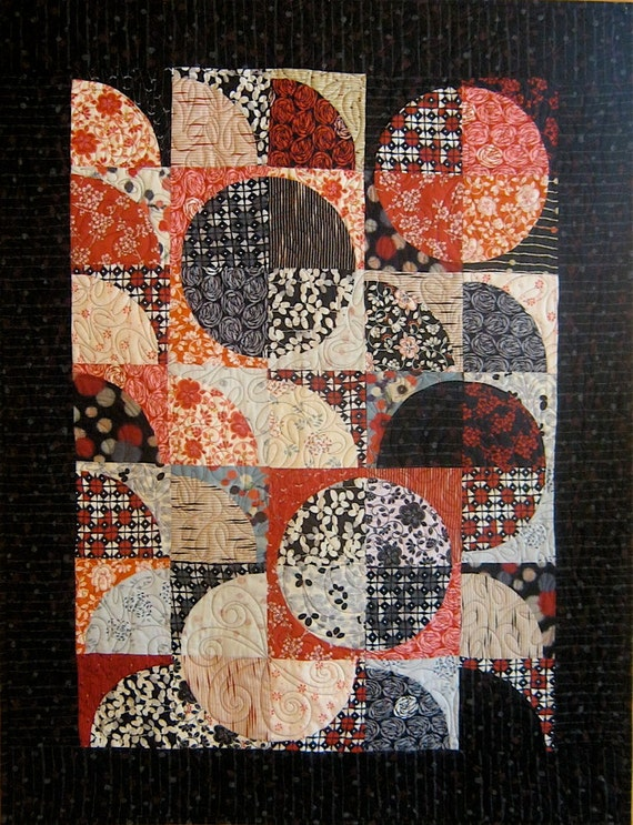 Patchwork Quilt - black and red Japanese Drunkard's Path wall hanging