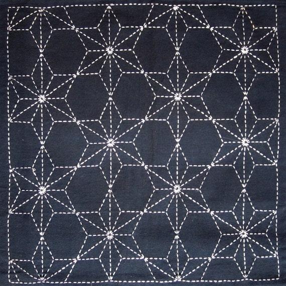 Japanese sashiko fabric - Tobi Asanoha (Scattered Hemp Leaf) panel number 210