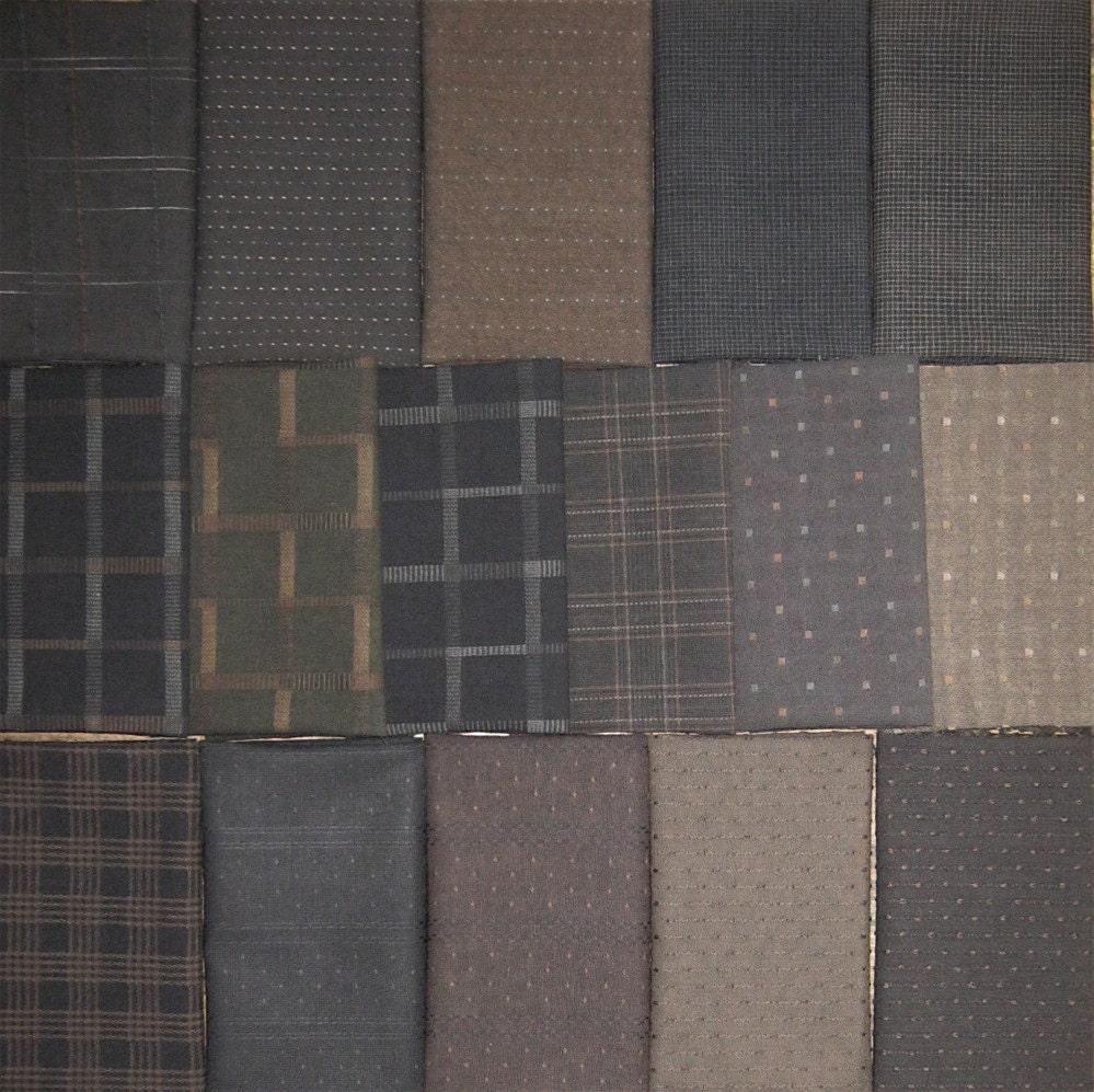 Japanese Taupe Fabrics 16 Dark Fat Eighths By Kallistiquilts